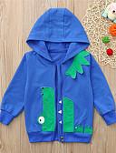 baratos Moletons Para Meninas-Infantil Bébé Para Meninos Básico Estampado Estampado Manga Longa Algodão Moleton & Blusa de Frio Azul