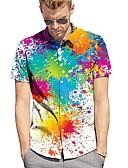 رخيصةأون قمصان رجالي-رجالي قميص مقاس أوروبي / أمريكي طباعة ألوان متناوبة أبيض L / كم قصير