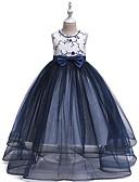 זול שמלות לילדות פרחים-נסיכה עד הריצפה שמלה לנערת הפרחים  - סאטן / טול ללא שרוולים עם תכשיטים עם חרוזים / פפיון(ים) / ריקמה על ידי LAN TING Express