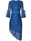 hesapli Mini Elbiseler-Kadın's Dantelalar Kılıf Elbise - Solid, Dantel Fiyonklar Asimetrik