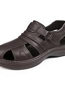 levne Pánské kalhoty a kraťasy-Pánské Komfortní boty PU Léto Na běžné nošení Sandály Prodyšné Černá / Hnědá