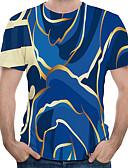 """זול טישרטים לגופיות לגברים-קולור בלוק / 3D / גראפי צווארון עגול האיחוד האירופי / ארה""""ב גודל טישרט - בגדי ריקוד גברים דפוס פול / שרוולים קצרים"""