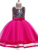 זול שמלות לבנות-שמלה עד הברך ללא שרוולים פאייטים טלאים פעיל / סגנון רחוב בנות ילדים