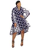 hesapli Büyük Beden Elbiseleri-Kadın's sofistike Gömlek Elbise - Çizgili, Desen Asimetrik