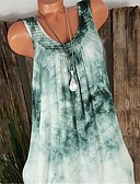 cheap Women's Shirts-Women's Boho / Street chic Tank Top - Tie Dye Lace / Patchwork V Neck Red