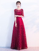 preiswerte Abendkleider-A-Linie Bateau Boden-Länge Chiffon Kleid mit Plissee durch LAN TING Express