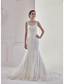 cheap Wedding Dresses-Mermaid / Trumpet Bateau Neck Court Train Lace / Tulle Made-To-Measure Wedding Dresses with Appliques / Lace by ANGELAG