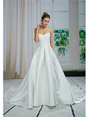 baratos Vestidos de Casamento-Linha A Decote Princesa Cauda Catedral Renda / Cetim Vestidos de casamento feitos à medida com Miçangas de ANGELAG