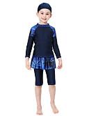お買い得  女児 スイムウエア-子供 女の子 ベーシック 幾何学模様 プリント ナイロン 水着 ブラック
