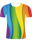 cheap Men's Tees & Tank Tops-Men's Plus Size T-shirt - Color Block / Rainbow Round Neck Rainbow