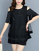 cheap Women's Shirts-Women's Plus Size Plus Size Loose Blouse - Floral / Color Block Mesh / Patchwork Black XXXL