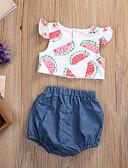 זול אוברולים טריים לתינוקות-סט של בגדים כותנה קצר ללא שרוולים דפוס פעיל / בסיסי בנות תִינוֹק / פעוטות