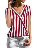 hesapli Tişört-Kadın's V Yaka Gömlek Çizgi / Şifon, Çizgili Siyah / Bahar / Yaz / Sonbahar