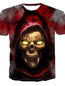 hesapli Erkek Tişörtleri ve Atletleri-Erkek Yuvarlak Yaka Tişört Desen, Zıt Renkli / 3D / Kuru Kafalar YAKUT