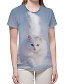 billige T-shirt-Dame - Farveblok / 3D / Dyr Trykt mønster Basale / overdrevet T-shirt Lyseblå XL