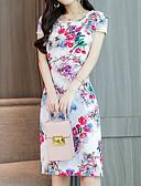 billige Kjoler-Dame Kineseri Elegant Skede Kjole - Blomstret, Trykt mønster Over knæet