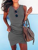 hesapli Mini Elbiseler-Kadın's Sokak Şıklığı İnce Bandaj Elbise - Solid V Yaka Diz üstü / Dışarı Çıkma