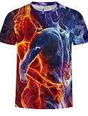 abordables Camisetas y Tops de Hombre-Hombre Talla EU / US Camiseta, Escote Redondo Delgado 3D Arco Iris XL