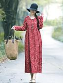hesapli Maksi Elbiseler-Kadın's Vintage A Şekilli Elbise - Çiçekli, Kırk Yama Desen Maksi