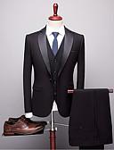 זול חליפות-נייבי כהה / חאקי / כחול ים אחיד גזרה מחוייטת פוליסטר חליפה - סגור Single Breasted One-button