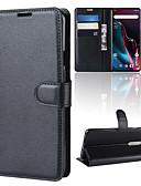זול מגנים לטלפון-מגן עבור OnePlus OnePlus 6 / One Plus 6T / אחת פלוס 7 ארנק / מחזיק כרטיסים / נפתח-נסגר כיסוי מלא אחיד קשיח עור PU