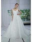 baratos Vestidos de Casamento-Linha A Decote V Cauda Capela Renda / Tule / Paetês Vestidos de casamento feitos à medida com Miçangas / Apliques / Renda de ANGELAG