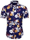 abordables Jerséis y Cardigans de Hombre-Hombre Básico Estampado Camisa Delgado Floral Azul Piscina XL