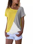 billige Korte brudepikekjoler-V-hals Store størrelser T-skjorte Dame - Fargeblokk Svart