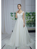 baratos Vestidos de Casamento-Linha A Decote V Cauda Escova Renda / Tule / Paetês Vestidos de casamento feitos à medida com Apliques / Renda de ANGELAG