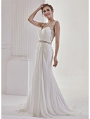 cheap Wedding Dresses-Mermaid / Trumpet Sweetheart Neckline Sweep / Brush Train Chiffon Made-To-Measure Wedding Dresses with Appliques / Lace / Ruched by ANGELAG