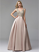 cheap Evening Dresses-A-Line V Neck Floor Length Satin / Sequined Prom / Formal Evening Dress with Beading by TS Couture®