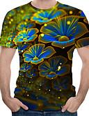 preiswerte Herren T-Shirts & Tank Tops-Herrn Blumen / 3D Übergrössen Baumwolle T-shirt, Rundhalsausschnitt Druck Regenbogen XXXXL