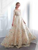 preiswerte Abendkleider-A-Linie Schmuck Boden-Länge Spitze / Schimmernde Spitze Kleid mit durch LAN TING Express