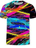 billiga Herrtröjor-Tryck, Geometrisk / 3D / Regnbåge T-shirt Herr Svart XL