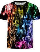 hesapli Erkek Blazerları ve Takım Elbiseleri-Erkek Pamuklu Yuvarlak Yaka Tişört Desen, Geometrik / Zıt Renkli / 3D Gökküşağı XL