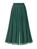 hesapli Tişört-Kadın's Sokak Şıklığı Salaş Geniş Bacak Pantolon - Solid Mavi, Büzgülü / Şifon Yüksek Bel Siyah Bej Koyu Mavi Tek Boyut