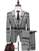 hesapli Erkek Blazerları ve Takım Elbiseleri-Erkek Suit, Çizgili / Zıt Renkli Gömlek Yaka Polyester Havuz / Gri XXL / XXXL / XXXXL