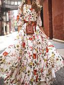 رخيصةأون فساتين الحفلات-فستان نسائي متموج طباعة طويل للأرض ورد