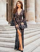 זול תחרה רומטנית-V עמוק מקסי שמלה גזרת A בגדי ריקוד נשים
