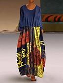 abordables Robes Imprimées-Femme Basique Maxi Gaine Robe Géométrique Rouge Marine Jaune XXL XXXL XXXXL Manches Longues