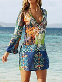 cheap Bikinis-Women's Boho Holiday Beach Boho Mini Sheath Sundress - Graphic Print Deep V Summer Blue L XL XXL