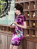 זול גופים סקסיים-מבוגרים בגדי ריקוד נשים סגנון סיני Cheongsam עבור מסיבה וערב מדים מועדון 100% פוליאסטר מעל הברך Cheongsam