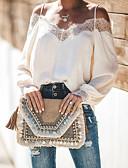 hesapli Maksi Elbiseler-Kadın's V Yaka / Askılı Bluz Dantel / Arkasız / Kırk Yama, Solid Beyaz