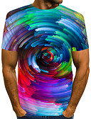 cheap Men's Tees & Tank Tops-Men's Daily Wear Club Street chic / Exaggerated T-shirt - Color Block / 3D / Graphic Print Rainbow US40
