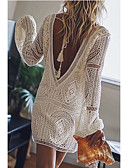 זול שמלות מיני-V עמוק מעל הברך טלאים, גיאומטרי - שמלה גזרת A משוחרר כותנה בסיסי בגדי ריקוד נשים