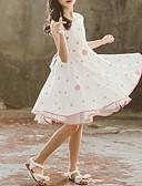 זול שמלות לבנות-שמלה עד הברך ללא שרוולים קפלים / Ruched מנוקד כחול מתוק / סגנון חמוד בנות ילדים / פעוטות