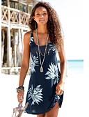 hesapli Mini Elbiseler-Kadın's Kılıf Elbise - Çiçekli, Desen Diz üstü