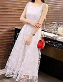 hesapli Romantik Dantel-Kadın's sofistike Zarif Kılıf Şifon Elbise - Çiçekli Geometrik Kar Tanesi, Dantel Şalter Midi