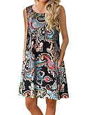 זול שמלות נשים-מעל הברך דפוס, פרחוני קולור בלוק - שמלה גזרת A נדן בסיסי סגנון רחוב בגדי ריקוד נשים