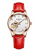 זול שעונים-בגדי ריקוד נשים שעון מכני קווארץ עור אמיתי זוהר בחושך אנלוגי יום יומי